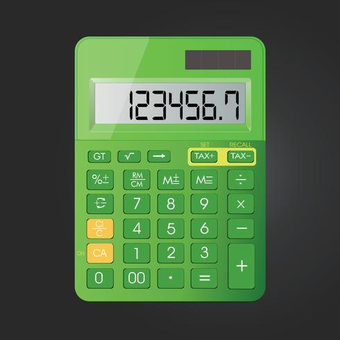 Icono realista del vector de la calculadora aislado en fondo negro
