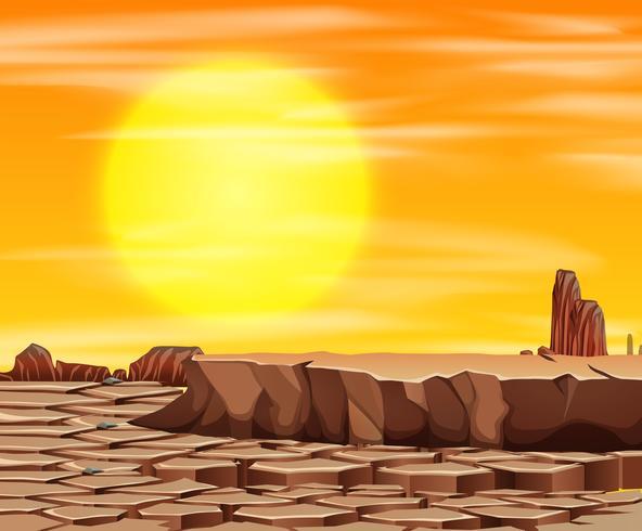 Coucher de soleil dans la scène du désert