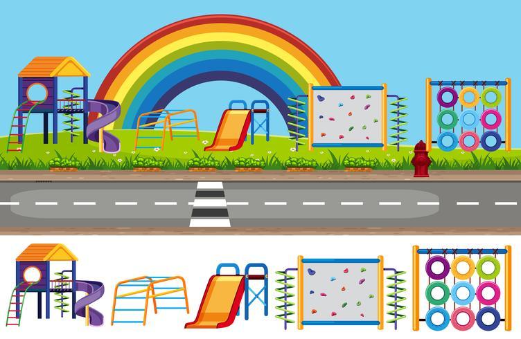 Children Playground Background and Element Set