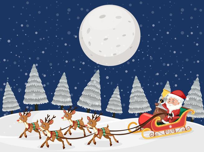 Santa on sleigh with reindeers snow night scene vector