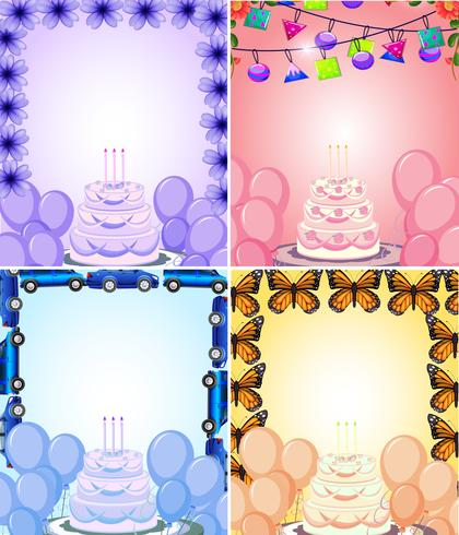 Set of birthday card template