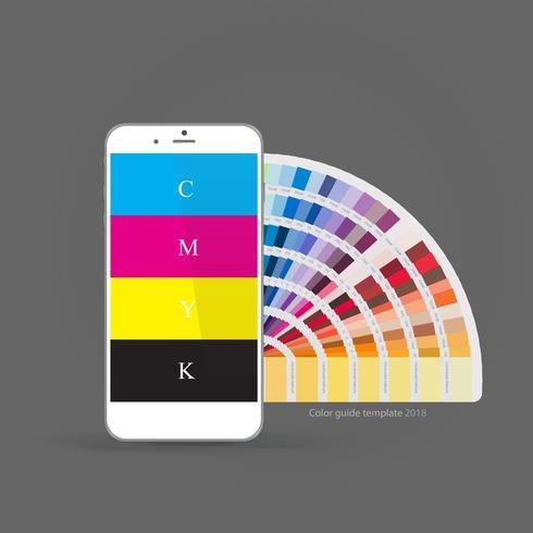 Smartphone med CMYK-färgpalettguide, koncept för mobilappar. vektor illustration