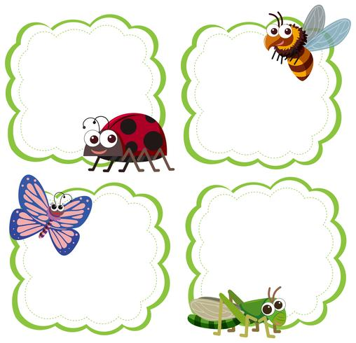 Set of insect note template