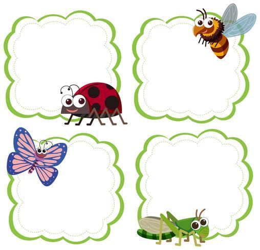 Set van insecten notitie sjabloon