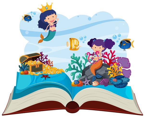 Scena Subacquea Con Sirene Pop Up Libro Scarica Gratis Arte