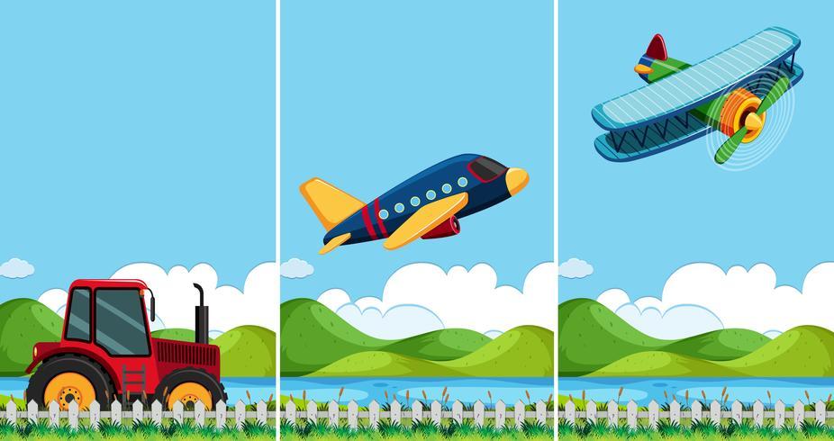 Três cenas com diferentes tipos de transporte