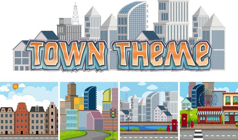 Conjunto de tema da cidade