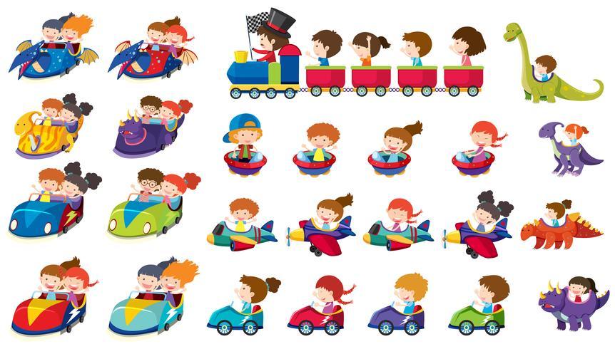 En uppsättning barn rider