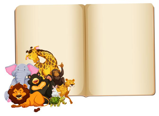 Wild animal on blank book template