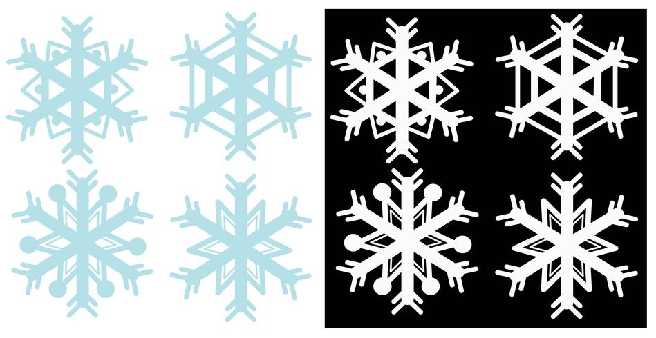 Snowflakes in blue and white colors vector