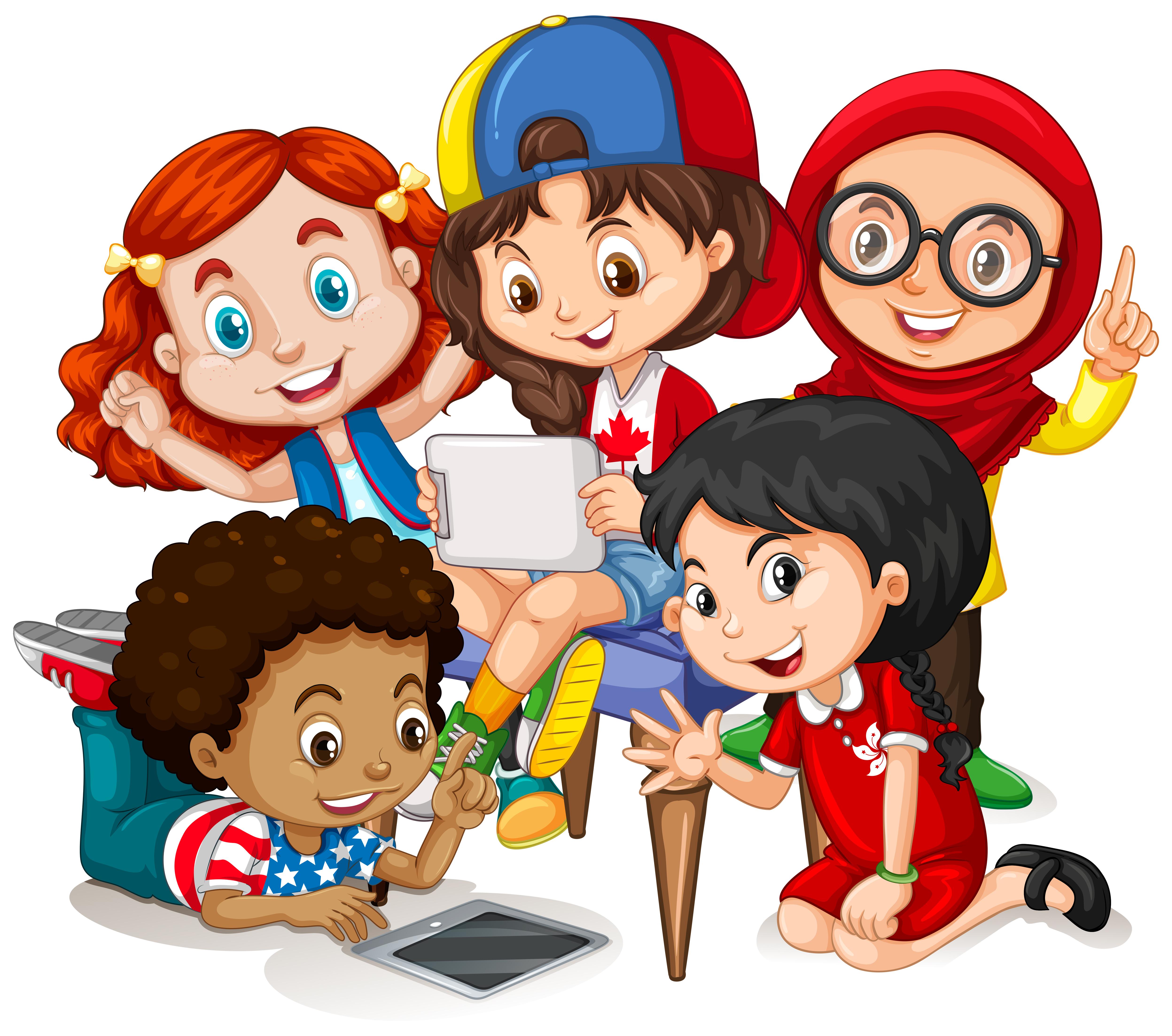 Children working in group - Download Free Vectors, Clipart ...