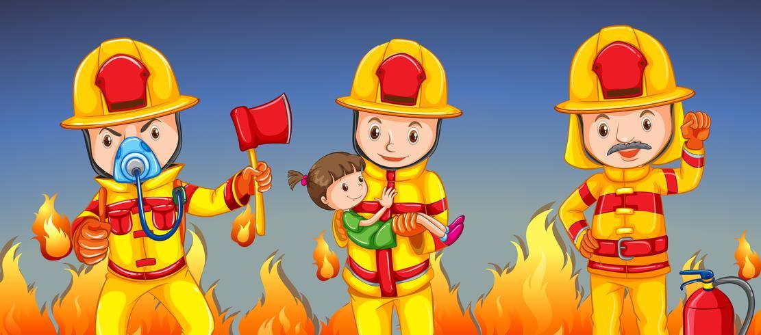 Pompier aider une fille