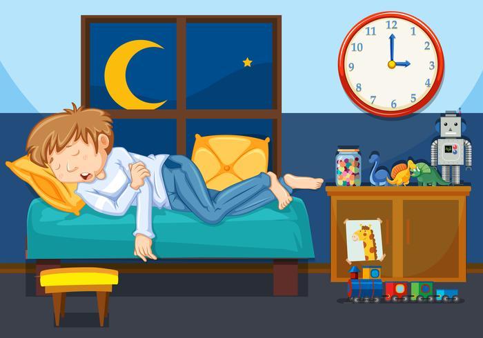 En ung man sover i sovrummet