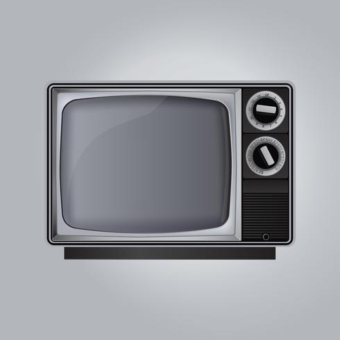 Vecchio set televisivo isolato su sfondo grigio