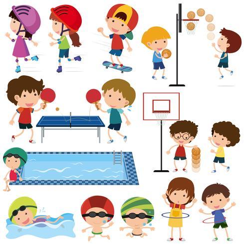 Veel kinderen die verschillende sporten spelen
