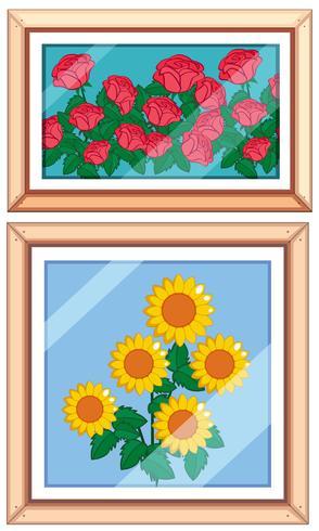 Set og schönen Blumenrahmen