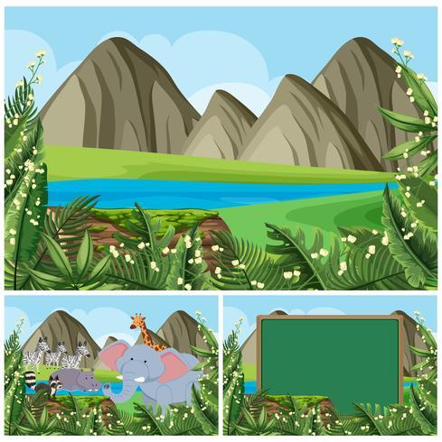 Achtergrondscènes met bergen en dieren