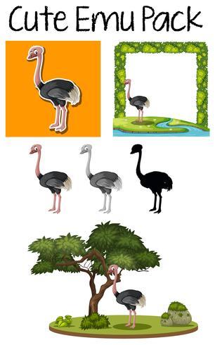 Pack med söt emu