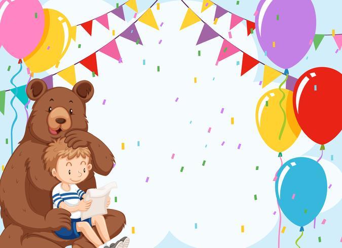 Urso e menino no modelo de aniversário