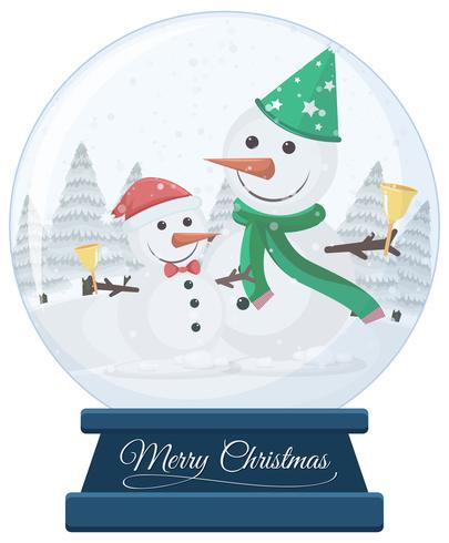 Snowmen in snow globe merry christmas