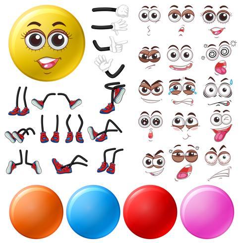 Diferentes expressões oculares e posições das pernas