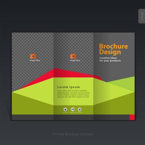 Färgrik affärs trippel broschyrmall, omslagsdesign, flygblad - Vektorillustration