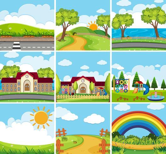 Nove scene di scuola e parchi