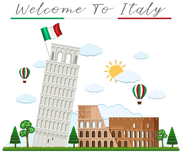 Bienvenue en Italie et Landmark vecteur
