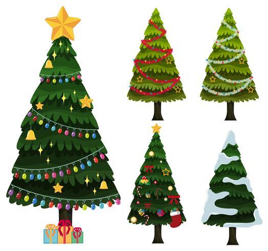Cinco, natal, árvores, com, ornamentos