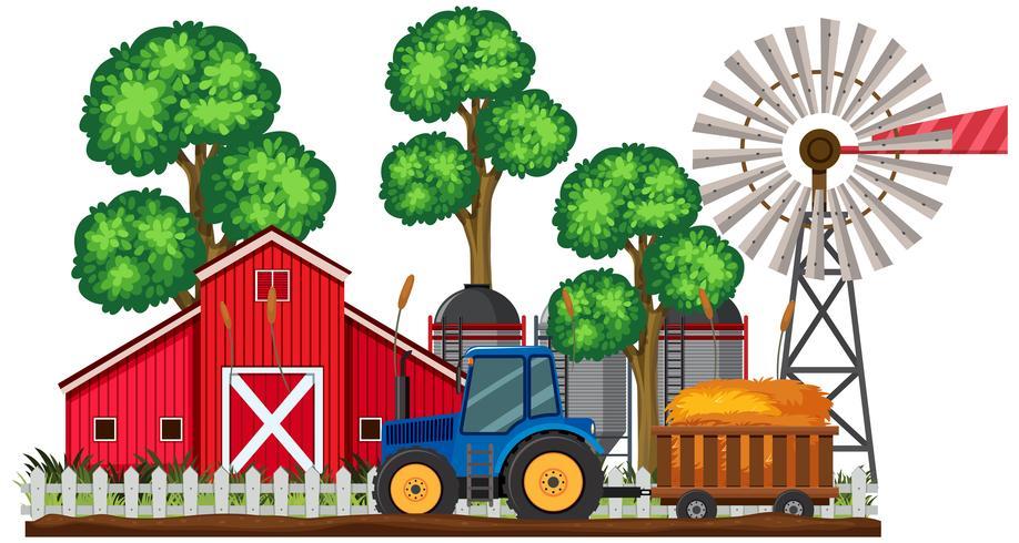 Uma cena agrícola e trator
