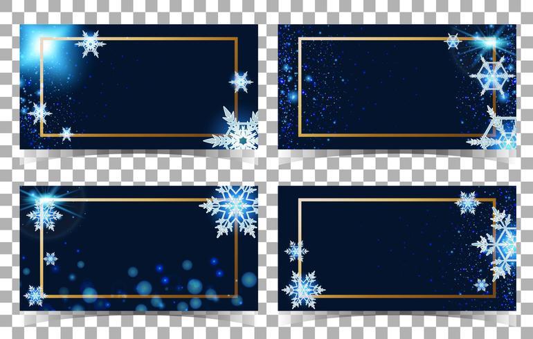 Modèle de quatre cartes avec fond de flocons de neige