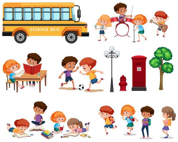 Conjunto de niños de la escuela aislados