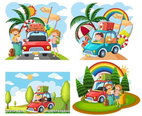 Sets von Roadtrip-Szenen
