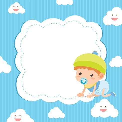 Bannermalplaatje met baby op blauwe achtergrond