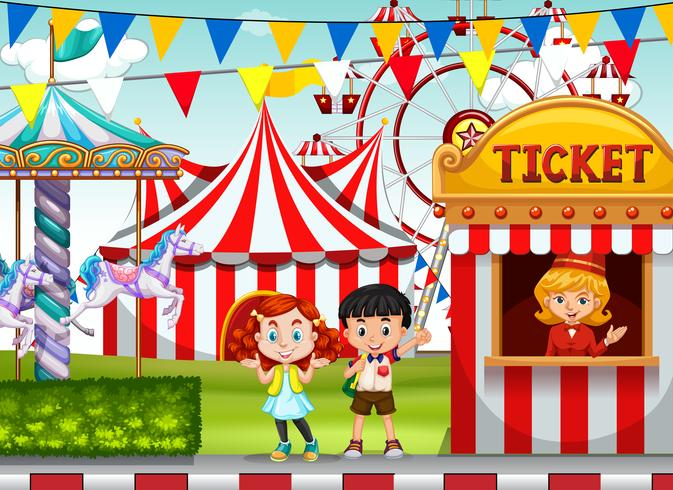 Children at the circus ticket booth