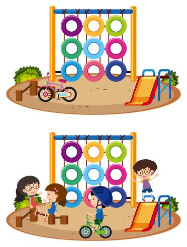 Twee speeltuintaferelen met en zonder kinderen
