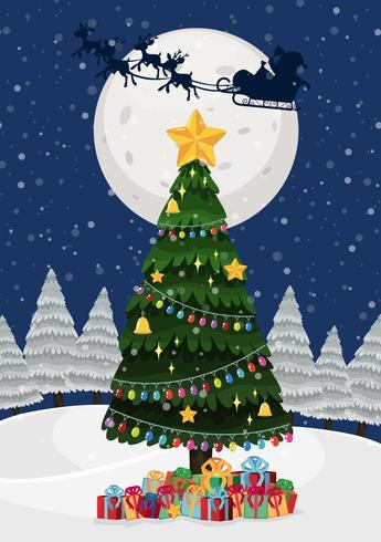 Een kerstboom 's nachts