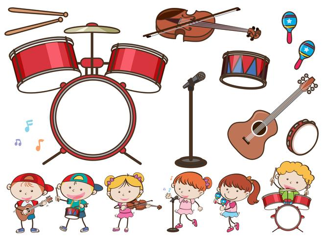 Different musical instruments and kids