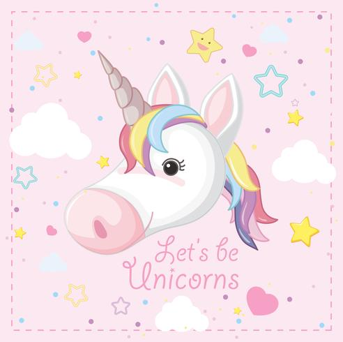 Unicornio de fantasía sobre fondo rosa