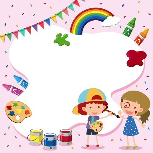Rahmenvorlage mit Kindern und Pinsel