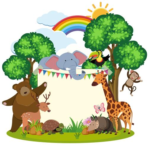 Border template with cute animals in garden