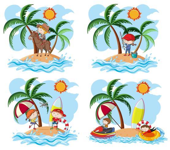 Een set van kinderen en eiland