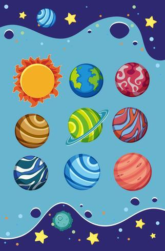 En uppsättning solsystem vektor