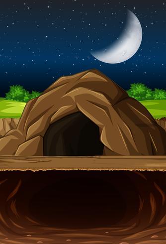 Escena nocturna de la cueva