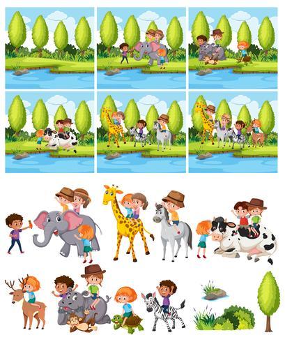 Conjunto de niños montando animal