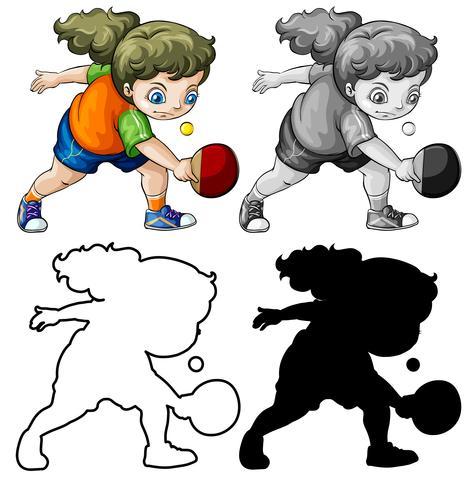 Conjunto de diferente chica jugando ping pong