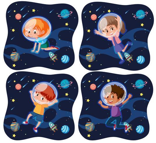 Ensemble d'enfants explorant l'espace
