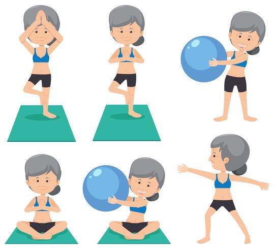Elderly lady doing different excercise