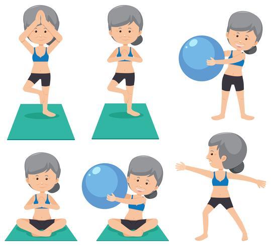 Dame âgée faisant un exercice différent vecteur