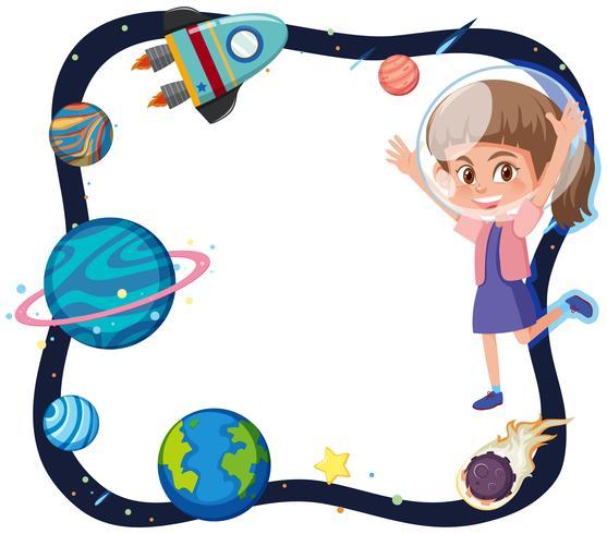 Tema del espacio con la chica astronauta.